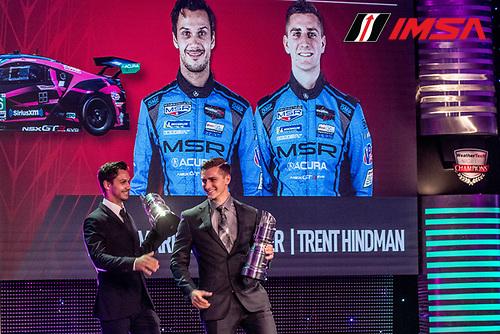 #86 Meyer Shank Racing w/ Curb-Agajanian Acura NSX GT3, GTD: Mario Farnbacher, Trent Hindman, IMSA WeatherTech Awards Banquet, Chateau Elan, Braselton, GA, October 2019.