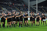 New Zealand players give team-mate Ma'a Nonu a round of applause after his 100th appearance for the All Blacks. Rugby World Cup Pool C match between New Zealand and Tonga on October 9, 2015 at St James' Park in Newcastle, England. Photo by: Patrick Khachfe / Onside Images
