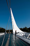 Sundial Bridge across Sacramento River in Redding in Northern California.Photo copyright Lee Foster.  Photo # california-sundial-bridge-cashas104958