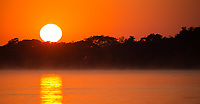 Sunrise over the Cuiaba River in the Pantanal.