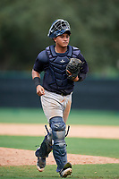 GCL Yankees West catcher Hemmanuel Rosario (21) during the second game of a doubleheader against the GCL Braves on July 30, 2018 at Champion Stadium in Kissimmee, Florida.  GCL Braves defeated GCL Yankees West 5-4.  (Mike Janes/Four Seam Images)