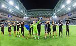 Stockholm 2014-04-16 Fotboll Allsvenskan Djurg&aring;rdens IF - AIK :  <br /> AIK:s m&aring;lvakt Kyriakos Stamatopoulos med lagkamrater jublar i Tele2 Arena efter matchen<br /> (Foto: Kenta J&ouml;nsson) Nyckelord:  Djurg&aring;rden DIF Tele2 Arena AIK jubel gl&auml;dje lycka glad happy inomhus interi&ouml;r interior