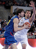 Real Madrid's Mirza Begic (r) and FC Barcelona Regal's Ante Tomic during Spanish Basketball King's Cup match.February 07,2013. (ALTERPHOTOS/Acero) /Nortephoto