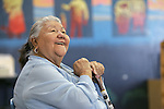 Washoe Elder Ramona Dick, 74, talks Thursday, Aug. 23, 2007, at the Woodfords Indian Education Center in Diamond Valley, Ca., near South Lake Tahoe. Dick is working with University of Chicago Professor Alan Yu on documenting her native language. .Photo by Cathleen Allison