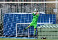 20200821 - Woluwe: Wuustwezel's keeper makes a save during a friendly match between Femina WS Woluwe vs K Wuustwezel FC on 21th of August 2020, in Stade Fallon, Woluwe. PHOTO: Sportpix.be | SEVIL OKTEM