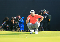 Jon Rahm (ESP) on the 12th green during Thursday's Round 1 of the 148th Open Championship, Royal Portrush Golf Club, Portrush, County Antrim, Northern Ireland. 18/07/2019.<br /> Picture Eoin Clarke / Golffile.ie<br /> <br /> All photo usage must carry mandatory copyright credit (© Golffile | Eoin Clarke)