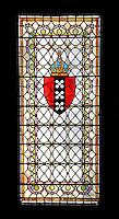 Nederland Amsterdam 2015.  Interieur van de Beurs van Berlage. Open Monumentendag. Glas-in-lood raam met het wapen van Amsterdam.