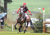 Blair Atholl, Scotland, UK. 12th September, 2015. Longines  FEI European Eventing Championships 2015, Blair Castle. Patrizia Attinger (SWE) riding Raumalpha during the Cross country phase © Julie Priestley