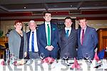 Geraldine Nagle, John O'Regan KDL, Minister Brendan Griffin, Patrick O'Rourke Chairman CAFC and Sean O'Keeffe KDL Chairman at the Castleisland AFC gala in the River Island Hotel on Saturday night