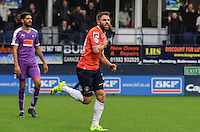 Josh McQuoid of Luton town celebrates during Luton Town and Plymouth Argyle at Kenilworth Road, Luton, England on 24 October 2015. Photo by Liam Smith.
