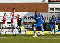 Andy Drury of Stevenage Borough shoots at goal during the Blue Square Premier match between Kidderminster Harriers and Stevenage Borough at the Aggborough Stadium, Kidderminster on Saturday 17th April, 2010..© Kevin Coleman 2010