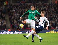 West Bromwich Albion Jake Livermore  and Tottenham's Christian Eriksen during the Premier League match between Tottenham Hotspur and West Bromwich Albion at Wembley Stadium, London, England on 25 November 2017. Photo by Andrew Aleksiejczuk / PRiME Media Images.