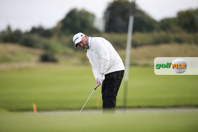 Damien McGrane (IRL) makes par on the last to win the final round of  The 106th Irish PGA Championship, at the Moy Valley Hotel & Golf Resort, Kildare, Ireland.  25/09/2016. Picture: David Lloyd | Golffile.
