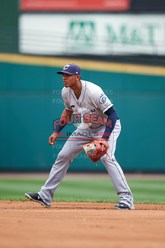 Columbus Clippers second baseman Erik Gonzalez (11) during a game against the Rochester Red Wings on June 16, 2016 at Frontier Field in Rochester, New York.  Rochester defeated Columbus 6-2.  (Mike Janes/Four Seam Images)