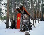 Smiley outhouse, Toiyabe National Forest, Sierra Nevada, California