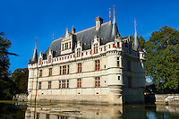 Exterior of the Renaissance Château d'Azay-le-Rideau with its River Indre moat, Built between 1518 and 1527,, Loire Valley, France