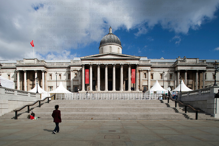 National Gallery facade on Trafalgar Square, London, England, United Kingdom