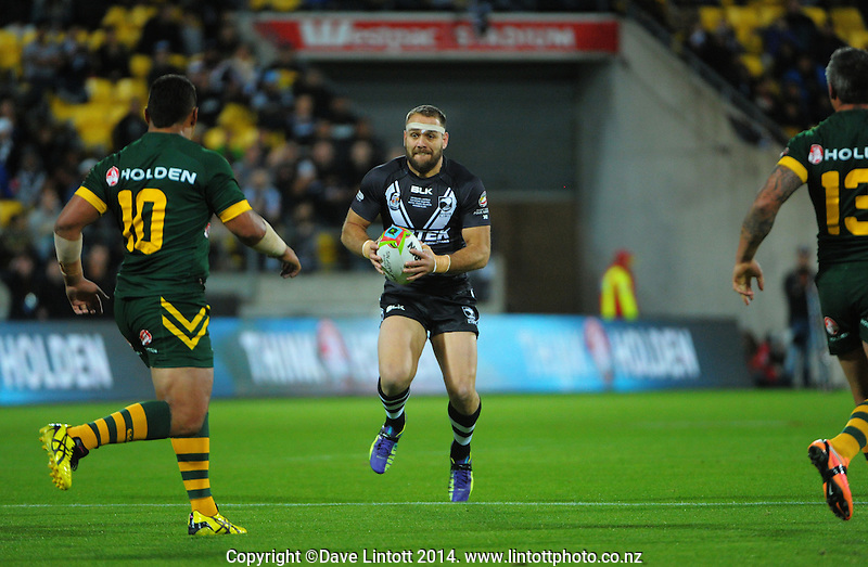 Jason Nightingale in action during the Four Nations rugby league final between the NZ Kiwis and Australia Kangaroos at Westpac Stadium, Wellington on Saturday, 15 November 2014. Photo: Dave Lintott / lintottphoto.co.nz