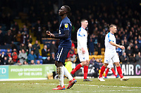 Elvis Bwomono of Southend United celebrates getting a draw in front of the Pompey fans during Southend United vs Portsmouth, Sky Bet EFL League 1 Football at Roots Hall on 16th February 2019