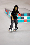 Nyjah Huston competes in the Skateboard Street competition during X-Games 12 in Los Angeles, California on August 4, 2006.