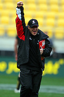 Counties coach Milton Haig celebrates victory. ITM Cup - Wellington Lions v Counties-Manukau Steelers at Westpac Stadium, Wellington, New Zealand on Sunday, 8 August 2010. Photo: Dave Lintott/lintottphoto.co.nz.
