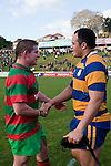 Grant Henson congratulates Patumahoe skipper  Siosuia Pole on his sides victory. Counties Manukau Premier Club Rugby final between Patumahoe & Waiuku played at Bayers Growers Stadium Pukekohe on Saturday August 8th 2009. Patumahoe won 11 - 9 after leading 11 - 6 at halftime.