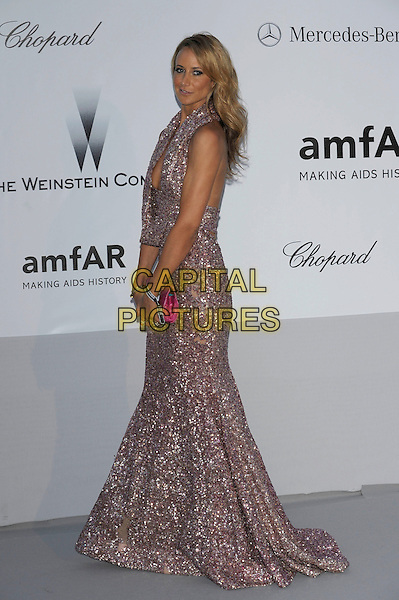 Lady Isabella Hervey.AmFAR Cinema Against AIDS 2012, Hotel du Cap, Antibes during the 65th  Cannes Film Festival, France..24th May 2012.full length purple dress pink clutch bag sparkly low cut neckline side .CAP/PL.©Phil Loftus/Capital Pictures.