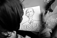 "Milano, occupazione e autogestione del Liceo Artistico Statale di Brera per protestare contro la riforma dell'istruzione. Una studentessa fa un disegno del presidente degli Stati Uniti d'America Barack Obama con la scritta ""hope"" (speranza) --- Milan, occupation and self-management of Brera art high school as a protest against the school reform. A student does a drawing of the president of the United States of America Barack Obama with the writing ""hope"""