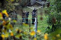 """Nazi Aufmarsch / Demo in Leipzig Ost - Leipziger verhindert den Zug durch die Stadt mit Blockade am S-Bahnhof Sellerhausen - unter dem Motto """"Leipzig nimmt Platz"""" nahmen Hunderte Leipziger an der bunten Gegenveranstaltung teil - sie schafften es den Start des Aufmarsches solange zu verhindern bis die Polizei die Kundgebung für beendet erklärte - in diesem Moment (ca. 16:40) eskalierte die Situation auf Seiten der Sympathiesanten der rechten Szene - Steine und Flaschen flogen - die Polizei bekam die Situation rasch wieder unter Kontrolle - im Bild:  ein paar rechte Demonstranten versuchen sich in einem Hinterhof die Wäscheleinen anzueignen - womöglich um sie vor dem Haus als Waffe zu gebrauchen. Foto: Norman Rembarz..Norman Rembarz , ASV-Autorennummer 41043728 , Holbeinstr. 14, 04229 Leipzig, Tel.: 01794887569, Hypovereinsbank: BLZ: 86020086, KN: 357889472, St.Nr.: 231/261/06432 - Jegliche kommerzielle Nutzung ist honorar- und mehrwertsteuerpflichtig! Persönlichkeitsrechte sind zu wahren. Es wird keine Haftung übernommen bei Verletzung von Rechten Dritter. Autoren-Nennung gem. §13 UrhGes. wird verlangt. Weitergabe an Dritte nur nach  vorheriger Absprache.."""