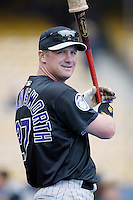 Todd Hollandsworth of the Colorado Rockies before a 2002 MLB season game against the Los Angeles Dodgers at Dodger Stadium, in Los Angeles, California. (Larry Goren/Four Seam Images)