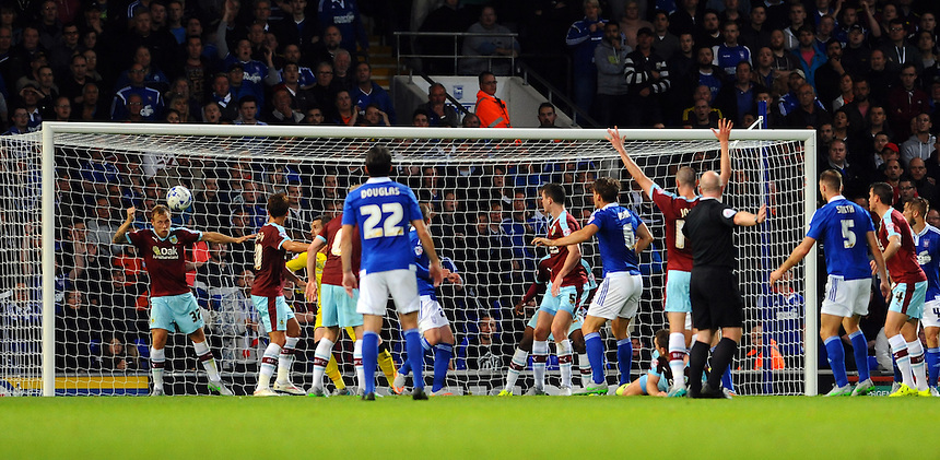 Burnley's Scott Arfield (far L) clears off the line to deny Ipswich in the first half<br /> <br /> Photographer Ashley Pickering/CameraSport<br /> <br /> Football - The Football League Sky Bet Championship - Ipswich Town v Burnley - Tuesday 18th August 2015 - Portman Road - Ipswich<br /> <br /> &copy; CameraSport - 43 Linden Ave. Countesthorpe. Leicester. England. LE8 5PG - Tel: +44 (0) 116 277 4147 - admin@camerasport.com - www.camerasport.com