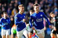1st February 2020; King Power Stadium, Leicester, Midlands, England; English Premier League Football, Leicester City versus Chelsea; James Maddison and Ben Chilwell of Leicester City celebrate Chilwell's goal after 64 minutes for 2-1