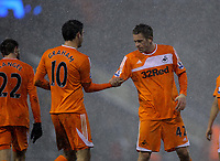 Pictured L-R: Goal scorers Danny Graham and Gylfi Sigurdsson of Swansea after the end of the game. Saturday, 04 February 2012<br />