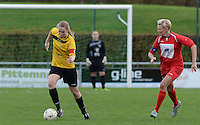 20151128 - PITTEM , BELGIUM : Annelien Van Autreve pictured with Nikita Smet (right) during a soccer match between the women teams of DVK Egem Ladies and KVK Svelta Melsele  , during the eleventh matchday in the Second League - Tweede Nationale season, Saturday 28 November 2015 . PHOTO DAVID CATRY