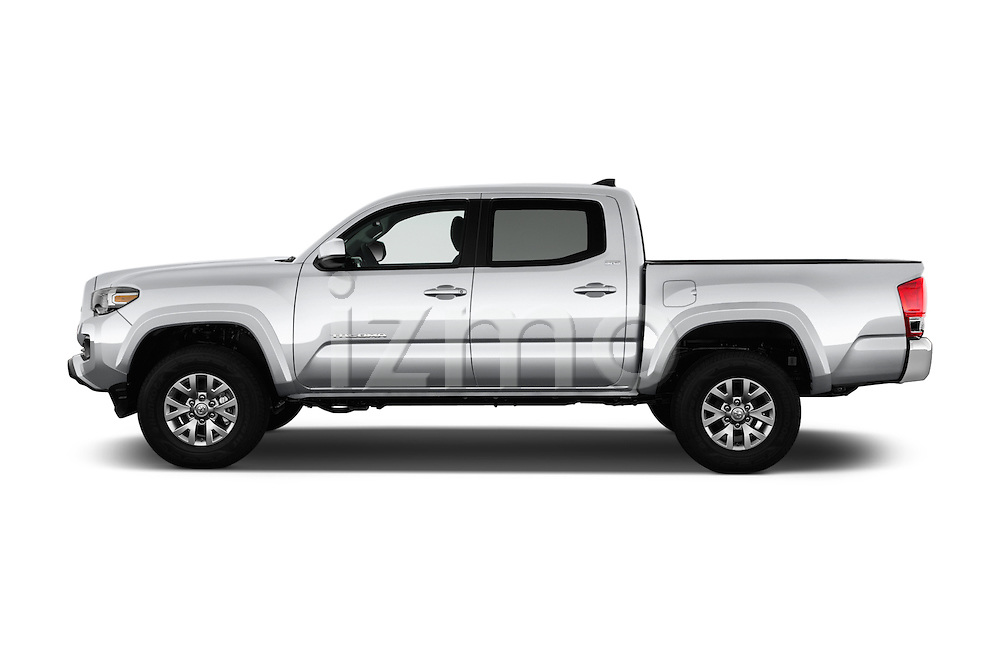 Car Driver side profile view of a 2016 Toyota Tacoma SR5 4 Door Pickup Side View