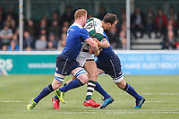 Joe Munro of Ealing Trailfinders is tackled during the British & Irish Cup Final match between Ealing Trailfinders and Leinster Rugby at Castle Bar, West Ealing, England  on 12 May 2018. Photo by David Horn / PRiME Media Images.