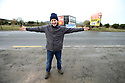 TO GO WITH BREXIT STORY BY WWILLIAM WALLIS DATE: 31 Jan 2019 - Padar MacNamee stands right on the border crossing on the Dublin Road outside Newry, South Armagh, Northern Ireland. Photo/Paul McErlane