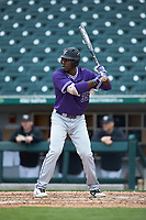 Sterling Turmon (35) of the Furman Paladins at bat against the Wake Forest Demon Deacons at BB&T BallPark on March 2, 2019 in Charlotte, North Carolina. The Demon Deacons defeated the Paladins 13-7. (Brian Westerholt/Four Seam Images)