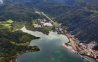 aerial photograph of the Golfito airport at the Pacific coastal village Golfito, Costa Rica