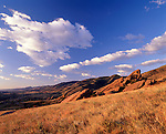 Morning sky above the sandstone formations of Red Rocks Park and Amphiteater, west of Denver, CO
