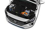 Car stock 2017 Hyundai Ioniq Plug-In Hybride Executive 5 Door Hatchback engine high angle detail view