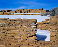 Mesa Verde National Park, CO<br /> View of Far View Ruin and snow field - from Pipe Shrine
