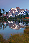 Mount Baker-Snoqualmie National Forest, Washington<br /> Mt Shuksan reflecting on Picture Lake at dusk