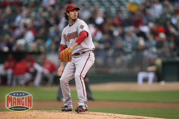 OAKLAND, CA - MAY 23:  Dan Haren #15 of the Arizona Diamondbacks pitches against the Oakland Athletics during the game at Oakland-Alameda County Coliseum on May 23, 2009 in Oakland, California. Photo by Brad Mangin