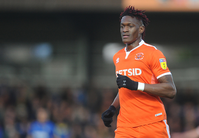 Blackpool's Armand Gnanduillet<br /> <br /> Photographer Kevin Barnes/CameraSport<br /> <br /> The EFL Sky Bet League One - AFC Wimbledon v Blackpool - Saturday 29th December 2018 - Kingsmeadow Stadium - London<br /> <br /> World Copyright © 2018 CameraSport. All rights reserved. 43 Linden Ave. Countesthorpe. Leicester. England. LE8 5PG - Tel: +44 (0) 116 277 4147 - admin@camerasport.com - www.camerasport.com