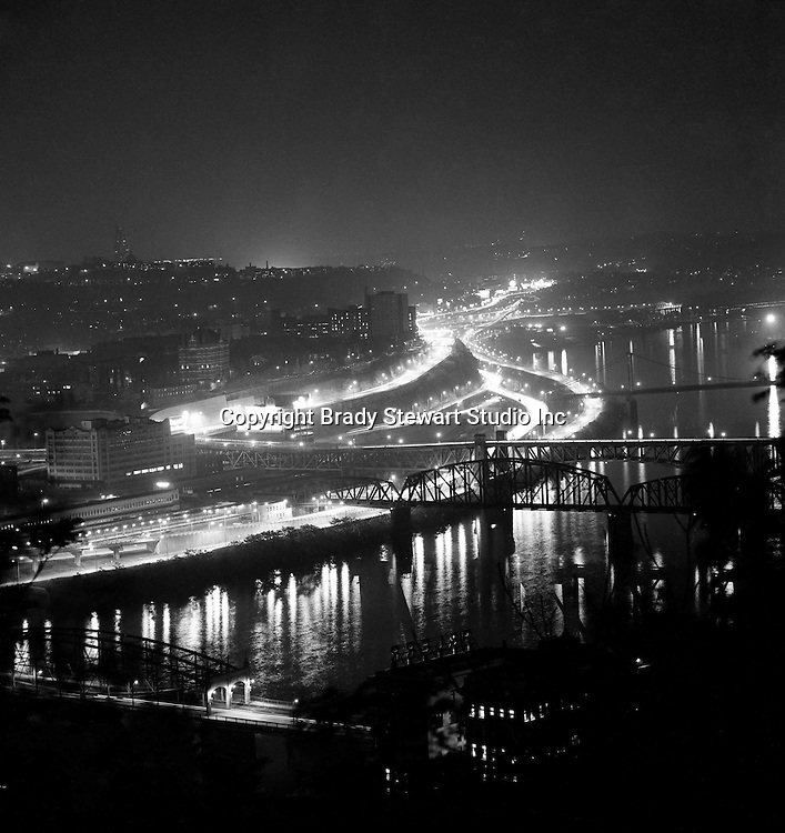 Pittsburgh PA:  View of Pittsburgh on Light-up Night - 1977