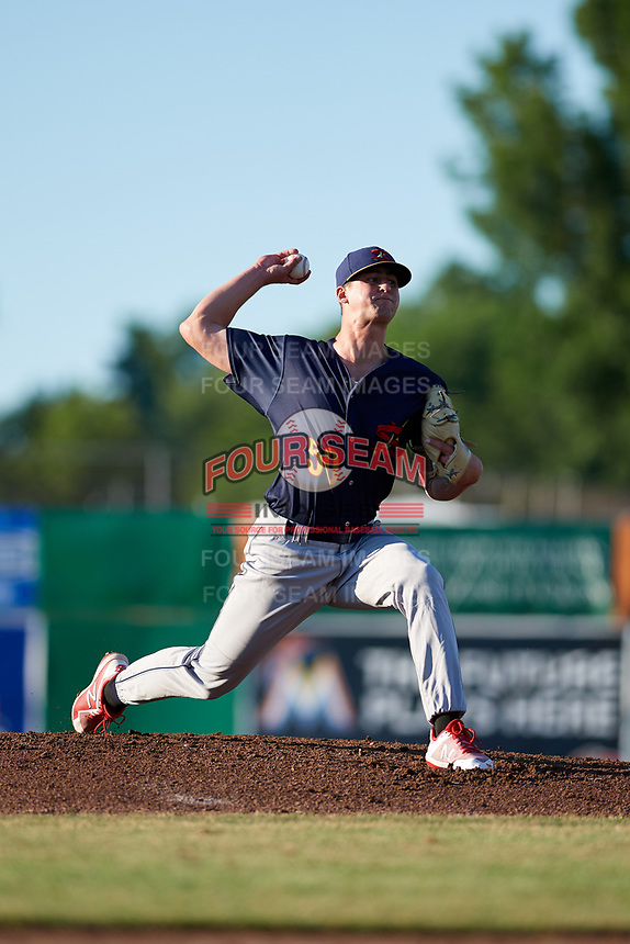 State College Spikes starting pitcher Chris Holba (50) delivers a pitch during a game against the Batavia Muckdogs on July 7, 2018 at Dwyer Stadium in Batavia, New York.  State College defeated Batavia 7-4.  (Mike Janes/Four Seam Images)