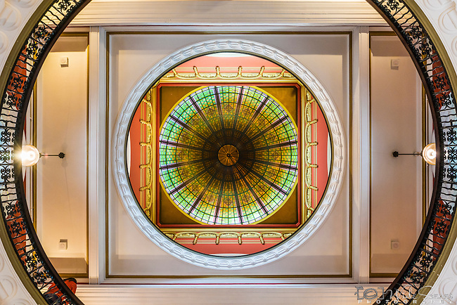 Look up at the ceiling inside the QVB in Sydney, Australia/