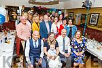 Baby Jamie Reid from Tralee, christening party in the Brogue Inn on Saturday.<br /> L to r: Sebastian Goddard (GF), Sandra Bunyan, Baby Jamie Reid, Damien Reid, Cathriona O'Donovan (GM).