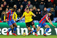 Richarlison of Watford attacks the Palace defence during the EPL - Premier League match between Crystal Palace and Watford at Selhurst Park, London, England on 12 December 2017. Photo by Carlton Myrie / PRiME Media Images.